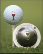 Tin-Cup Golf Ball Marker, martini glass, 5 O'Clock Somewhere