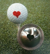 Tin-Cup Golf Ball Marker, heart, valentine, red